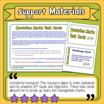 Quotation Marks Task Cards: 32 Multiple Choice Cards for Grades 2-3