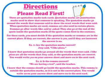 Quotation Marks Task Cards for Journeys Grade 2