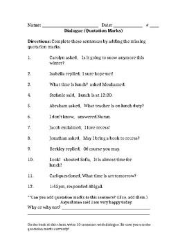 Quotation Marks Worksheet