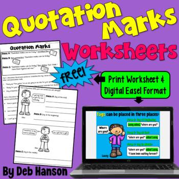 Quotation Marks Worksheet FREEBIE