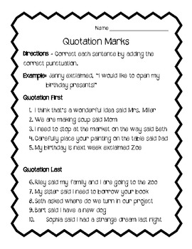 Quotation Marks Worksheet Review