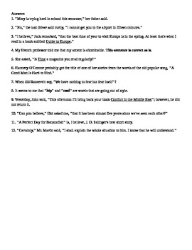 Quotation Marks Worksheet with Answer Key