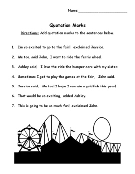 Quotation Marks Worksheets | Teachers Pay Teachers