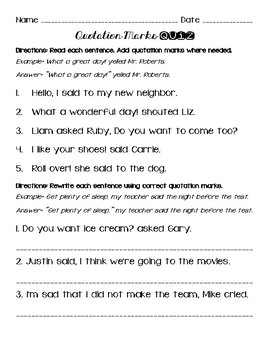 Quotation Marks Writing Dialogue Unit