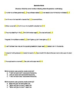 Quotation Marks and Comma Quiz