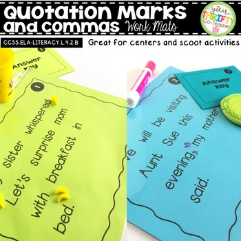 Quotation Marks and Commas Work Mats for Centers and Scoot Activities