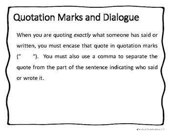 Quotation Marks and Dialogue