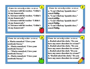 Quotation Marks for Dialogue Task Cards