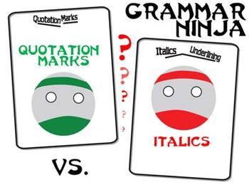 Quotation Marks vs Italics & Underlining PowerPoint - Grammar Ninja