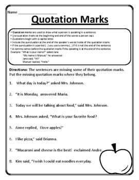 ALL Quotation Worksheets Quotations Practice Quotation Marks Worksheets Grammar