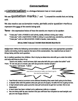 Quotations, Conversations, and Punctuation review/notes