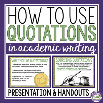 QUOTATIONS IN ESSAY WRITING
