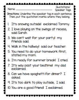 Quotations/Speaker Tags NO PREP Packet