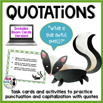 Quotations Task Cards and Activities - Includes Digital Boom Card Option!