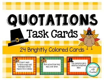 Quotations Task Cards: Thanksgiving (24 Cards)