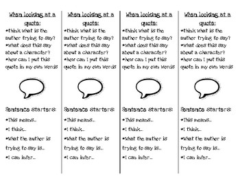 Quote Analysis Bookmark Supports