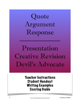 Quote Presentation & Argument Writing; Secondary ELA