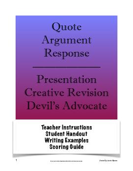 Quote Argument Response; Presentation, Creative Revision,