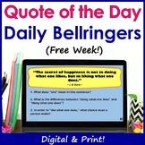 Inspirational Quotes ELA Bell Ringers - Printable & Digital