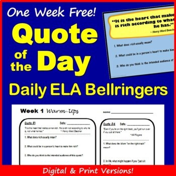 Quote Of The Day Bellringer Warm Ups Free Week By English