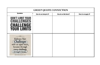 Quote Connection Graphic Organizer