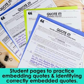 Integrating Quotations Worksheet - Sewdarncute