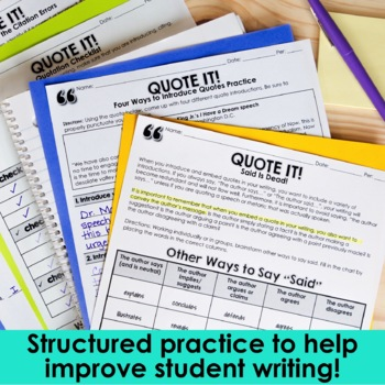 Embedding Quotes: A Common Core Lesson About Writing with Quotations