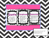 Quote, Paraphrase, Summarize Anchor Charts