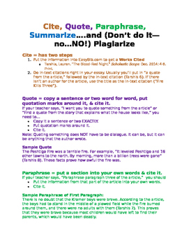 Quote, Paraphrase, Summarize, Plagiarize Basic Notes & Examples