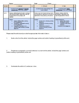 Quote. Paraphrase. Summarize. - SBG Assessment Tool