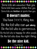 "Be the Nice Kid Vertical Quote Poster (36"" x 48"") - 4 Color Options"