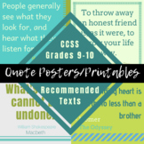 Quote Posters or Printables from CCSS Grades 9-10 ELA Reco