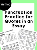 Quote Practice for Essay Writing