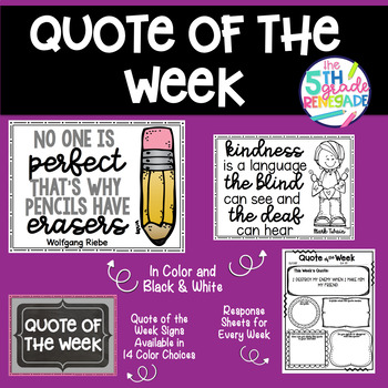 Quote of Week *36 Quotes*  in Color and Black & White with Response Sheets