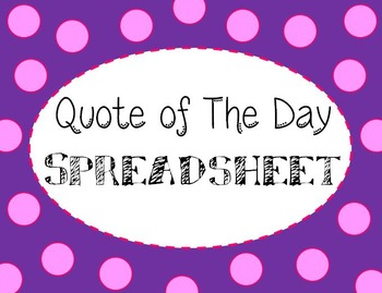 Quote of the Day Spreadsheet