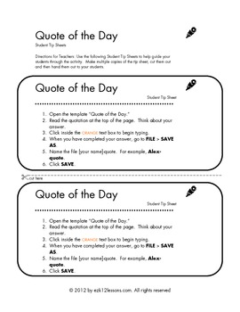 Quote of the Day | Word Processing Activity
