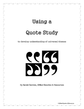 Quote Study Activity Packet