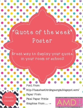 Quote of the Week Display Poster