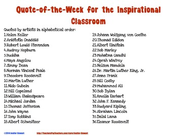 Quote of the Week for the Inspirational Classroom - (Chevron & Black & White)