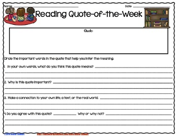 Quote of the Week for the Reading Classroom (Chevron & Black & White)