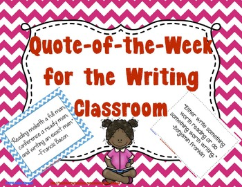Quote of the Week for the Writing Classroom - (Chevron and Black & White)