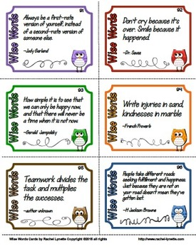 Wise Words Quote Cards and Activities