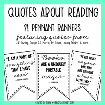 Quotes About Reading - Pennant Banners