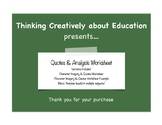 Quotes & Analysis Worksheet Template