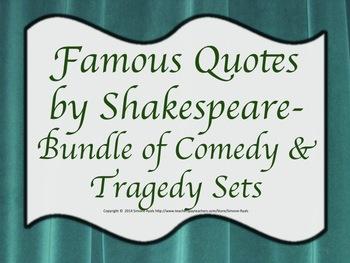 Quotes Shakespeare Comedies & Tragedies BUNDLE Drama Theat