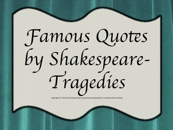 Quotes Shakespeare Tragedies Drama Theater Language Arts Character