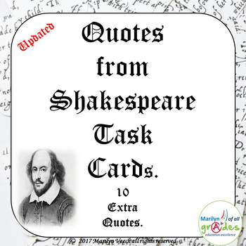 Shakespeare's Plays Quotes - Task Cards - UPDATED