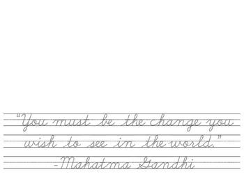 Quotes in Cursive - Gandhi