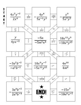 Quotient, Negative, and Zero Prop. of Exponents Maze