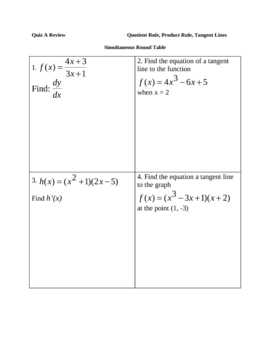 Quotient Rule Product Rule Tangent Lines